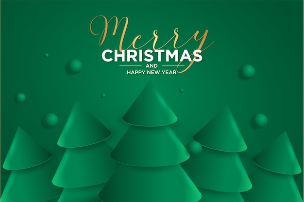 Merry christmas and happy new year 2021 card with elegant 3d christmas tree