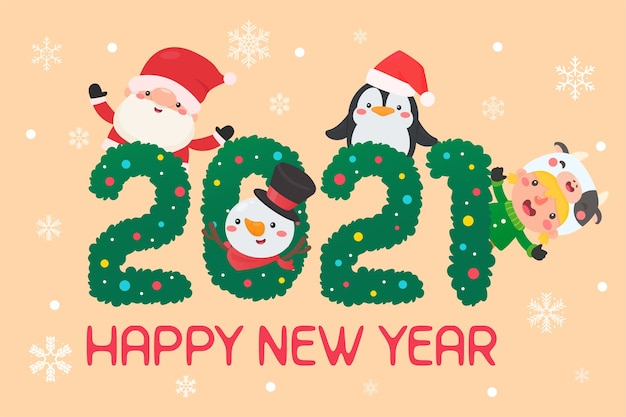Merry christmas and happy new year 2021. cartoon characters santa and kids happy christmas.