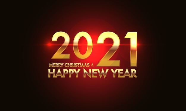 Merry christmas & happy new year 2021 gold number and text on red light effect black background.