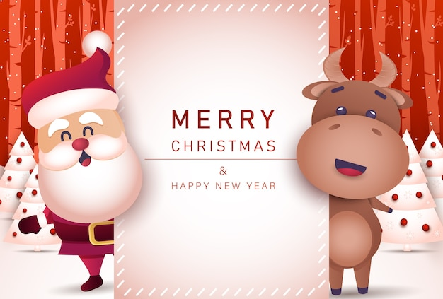 Merry christmas and happy new year 2021 greeting card with bull