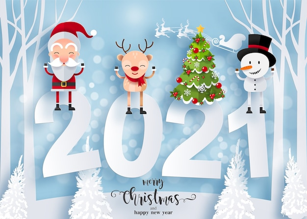 Merry christmas and happy new year 2021 greeting card with happy characters. santa claus, snowman and reindeer