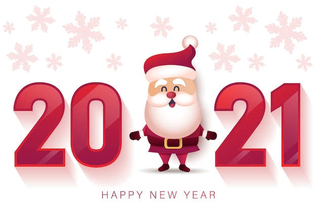 Merry christmas and happy new year 2021 greeting card with santa claus