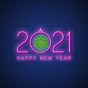 Merry christmas and happy new year 2021 neon sign background