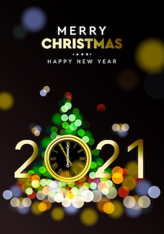 Merry christmas and happy new year 2021 - shining background with gold clock and christmas tree sparkle blur bokeh effect