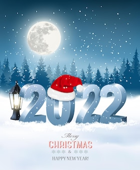 Merry christmas and happy new year 2022. 3d numbers with santa hat, light bulb on a winter landscape background. vector