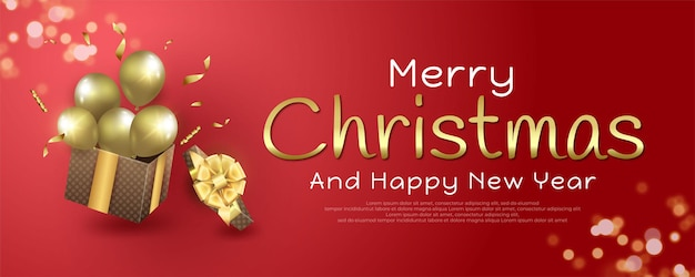 Merry christmas and happy new year 2022 banner with gift boxes and balloons