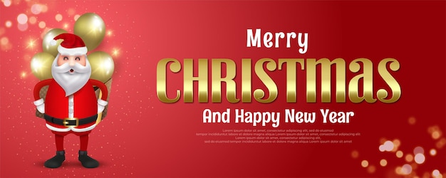 Merry christmas and happy new year 2022 banner with an illustration of santa claus carrying a gift box and balloons