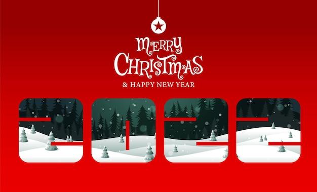 메리 크리스마스 새해 복 많이 받으세요 2022 서예 풍경 판타지 벡터 일러스트 레이션