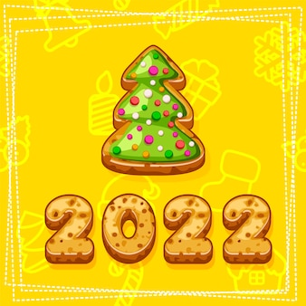 Merry christmas and happy new year 2022, christmas tree cookies