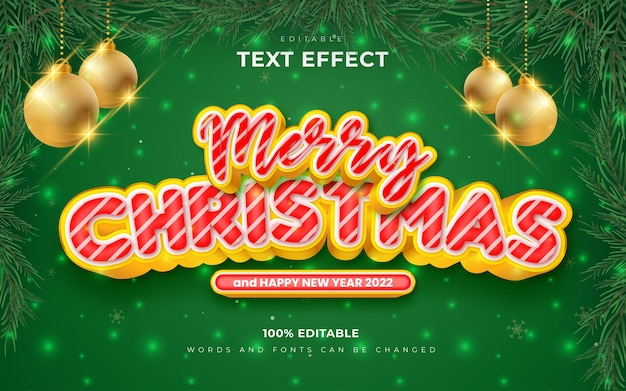 Merry christmas and happy new year 2022 editable text effects style