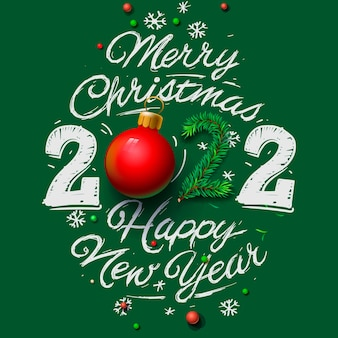 Merry christmas and happy new year 2022 greeting card vector illustration