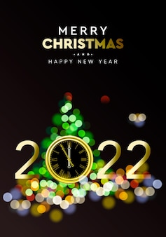 Merry christmas and happy new year 2022  shining background with gold clock and christmas tree