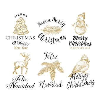 Merry christmas and happy new year abstract  signs, labels or logo templates set.