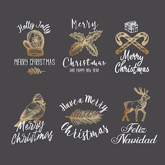 Merry christmas and happy new year abstract  signs, labels or logo templates set