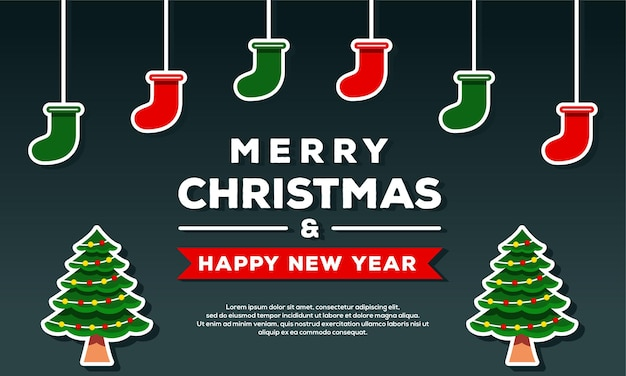Merry christmas and happy new year background banner template with christmas tree and sock