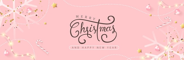 Merry christmas and happy new year background banner.