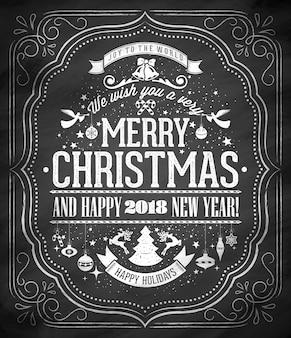 Merry christmas and happy new year background on chalkboard