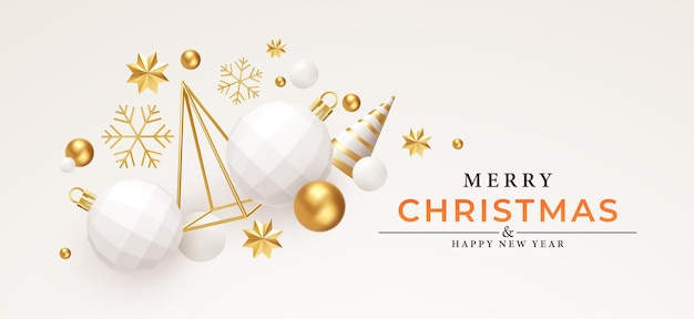 Merry christmas and happy new year background. gold and white 3d objects holidays composition. christmas tree, christmas decorations, snowflakes and stars. vector illustration