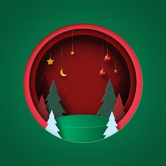 Merry christmas and happy new year background green podium in red circle decorated with christmas tree christmas ball and stars paper art