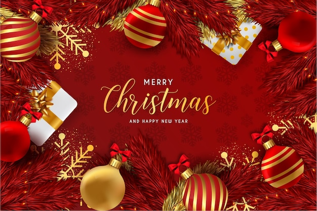 Merry christmas and happy new year background red with realistic christmas elements
