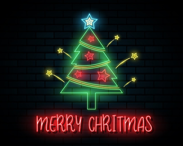 Merry christmas and happy new year background. santa claus, and christmas tree.