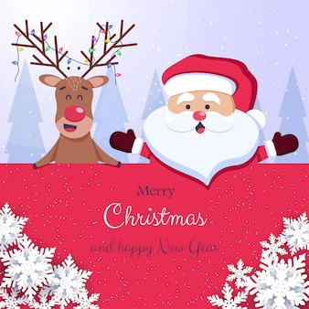 Merry christmas and happy new year background. santa and deer