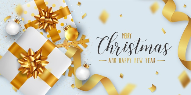 Merry christmas and happy new year background template with realistic christmas objects