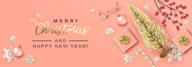 Merry christmas and happy new year background with artificial christmas tree