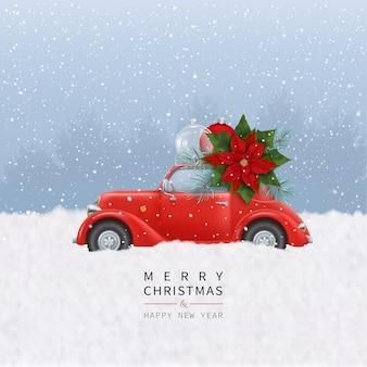 공 크리스마스 꽃 전나무 가지 장난감 자동차와 함께 메리 크리스마스 새 해 복 많이 받으세요 배경