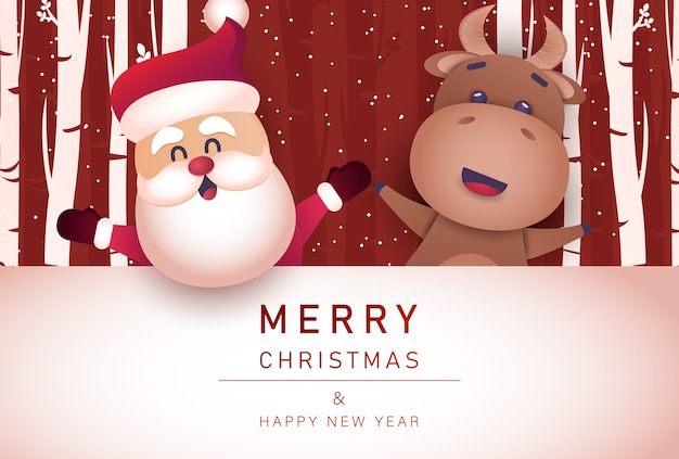 Merry christmas and happy new year background with bull and santa