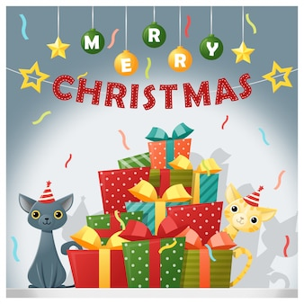 Merry christmas and happy new year background with cats