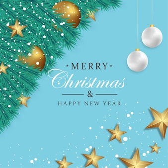 Merry christmas and happy new year background with christmas ornament golden ball and start