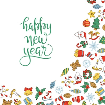 Merry christmas and happy new year background with colored icons.