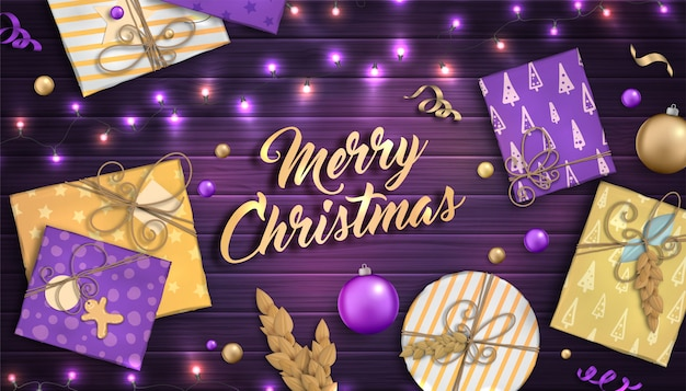 Merry christmas and happy new year background with colorful baubles, purple and gold gift boxes and garlands