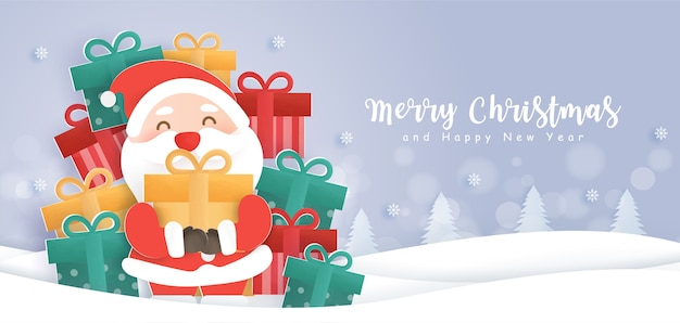 Merry christmas and happy new year background with cute santa and a gift boxes .