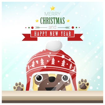 Merry christmas and happy new year background with dog