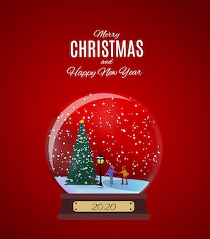Merry christmas and happy new year background with little town in retro style