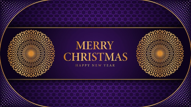 Merry christmas and happy new year background with ornamental mandala arabesque design