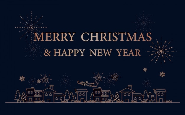 Merry christmas and happy new year background with outline city