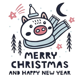 Merry christmas and happy new year background with pig