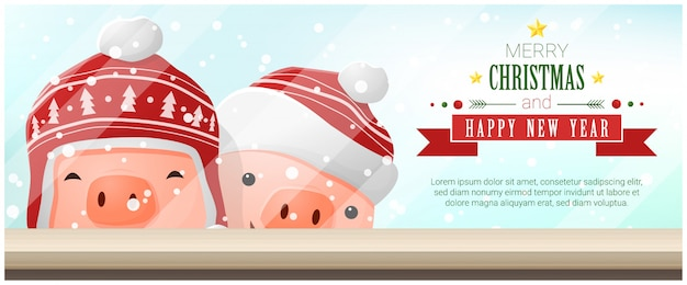 Merry christmas and happy new year background with pigs
