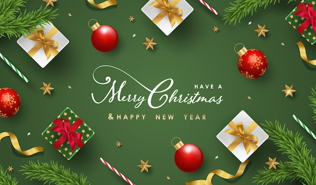Merry christmas and happy new year background with realistic festive objects