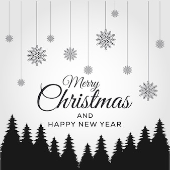 Merry christmas and happy new year. background xmas design of black pine.