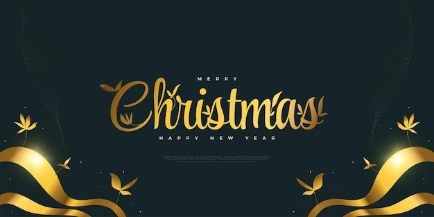 Merry christmas and happy new year banner or poster in blue and gold with floral illustration
