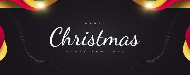 Merry christmas and happy new year banner or poster design. elegant christmas greeting card in black, red and gold