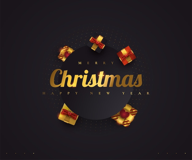 Merry christmas and happy new year banner or poster. elegant christmas greeting card in black and gold with luxury gift box
