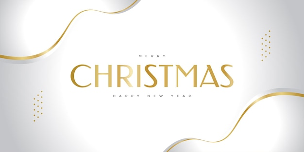 Merry christmas and happy new year banner or poster. elegant christmas greeting card in white and gold