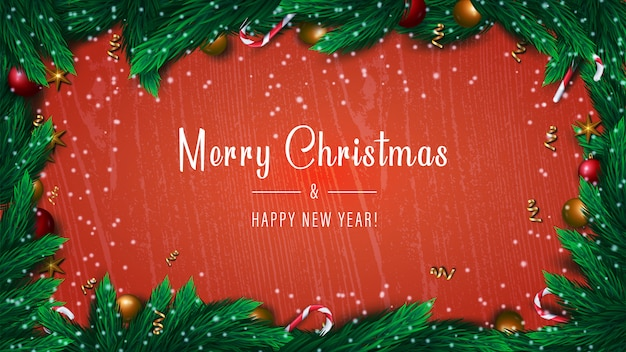 Merry christmas and happy new year banner on red background with spruce tree branches