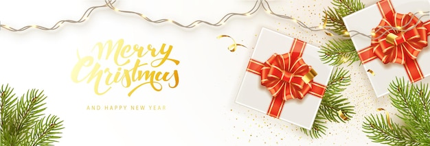 Merry christmas and happy new year banner template. holiday background, poster, greeting card, headers for website.
