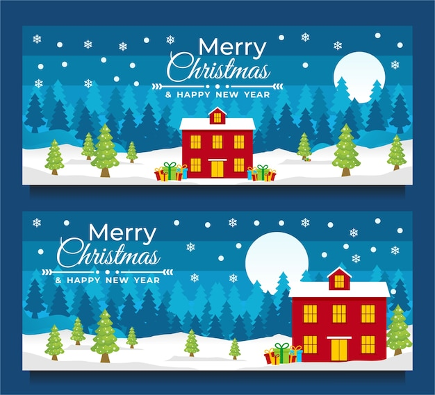 Merry christmas and happy new year banner template with christmas tree red home and blue background